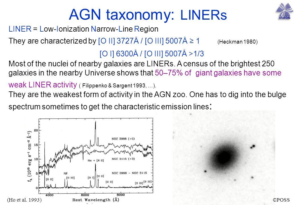 AGN taxonomy: LINERs [O I] 6300Å / [O III] 5007Å >1/3